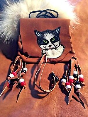 Tom Cat Handpainted Lambskin Medicine bag, with fringe and Pony beads.