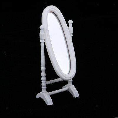 1/12 Dollhouse Miniature White Wood Full-Length Mirror Room Furniture Decor