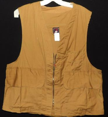 VTG 60s MEN HUNTING GAME & BULLET CARTRIDGE DUCK CANVAS RED HEAD VEST NEW NWT XL