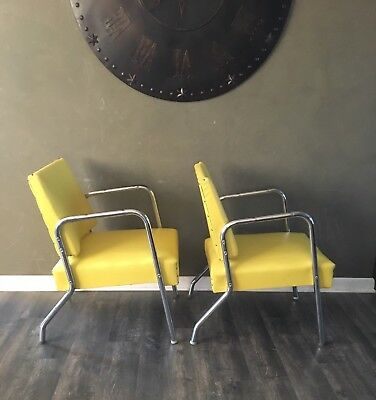 Pair of Vintage Mid Century Modern Yellow Lounge Chairs Bauhaus Style Chrome