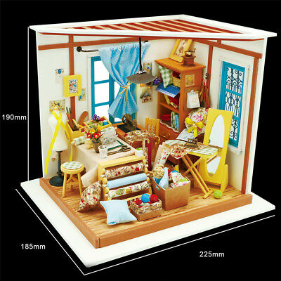 DIY Dollhouse Miniature 3D Doll House Box Handcraft With Furniture Tailors Shop