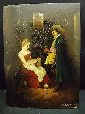 """Antique oil on table picaresque scene miniature painting signed """"J. Ruland"""""""