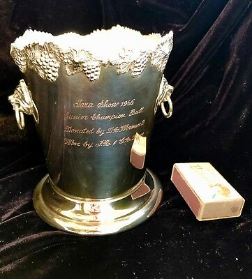 Silver ICE BUCKET ENGRAVED PRIZE TROPHY BEST BULL1965 rodeo antique Vintage