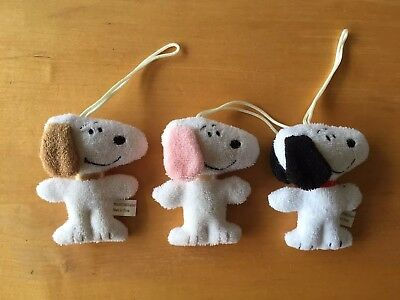 Lot of 3 Rare Style Colors Snoopy Terry Cloth Plush Dolls Charms
