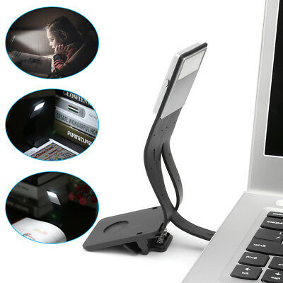 USB Rechargeable LED Light Dimmable Clip-On Desk Reading Book Lamp Flexible Arm