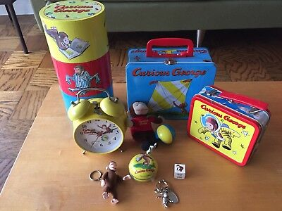 CURIOUS GEORGE LOT - Clock, Lunchbox, Keychain, Rubber Stamp, Yo-yo, + more