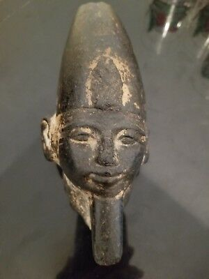 Antique Replica  Egyptian Style Head Of A King Modern Carving Around 150 Yrs Old