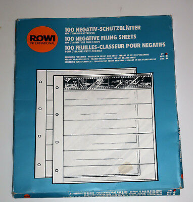 ROWI 35mm film negative filling storage pages. Open box of 49 translucent sheets