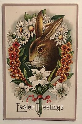 ~Cute Bunny Rabbit in Wreath of Flowers Antique Embossed Easter Postcard-a282
