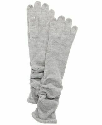 INC Womens Knit Gloves Ruched Long Gray OS Metallic NWT Free Shipping