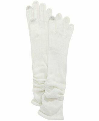 INC International Concept Womens Knit Gloves Ruched Long Ivory Metallic OS NWT