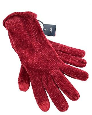 b905cfad81496 Charter Club Womens Chenille Roll-Top Gloves 1945 Cherry Super Soft OS ONE  SIZE
