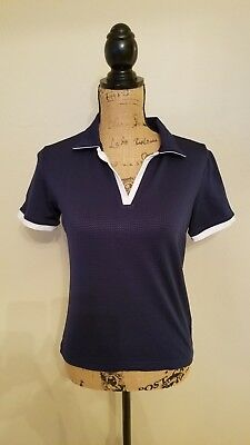 45739d913ff Nike Golf Women s Polo Short Sleeve Navy White Trim Dri Fit Athletic Shirt  Small