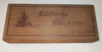 "Antique 1940s 1.5 Pound ""CALIFORNIA CHOCOLATES"" Cedar Box Made in Australia"