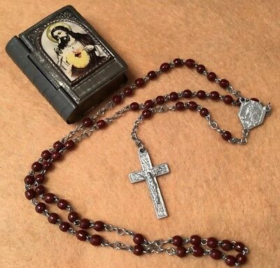 Vintage Italian brown bead silver metal Crucifix rosary our lord brass bible box