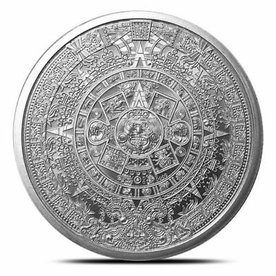 The Aztec Calendar Cuhuatemoc 1 oz .999 Silver BU Round 1st In Series