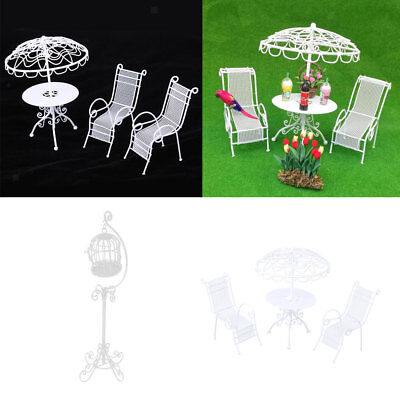 1/12 Doll House Miniature Garden Furniture Metal Table Chairs Birdcage White