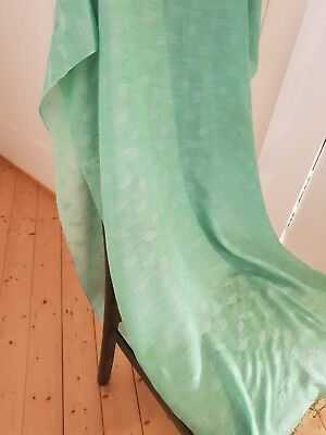 Lustrous large rectangular bright green vintage textured cotton scarf/wrap