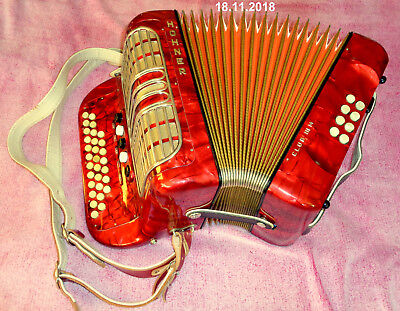 Germany Hohner C/f Club Iii M Diatonic Button Accordion Case Straps