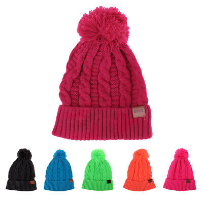 1e78108cbefc06 Unisex Winter Beanie Knit Hat Cap Pom Pom Warm Fleece Lining Knitted Ski Cap
