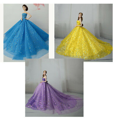 Handmade Beauty Wedding Party Bridal Gown Dress Clothes for 30cm Girl Dolls