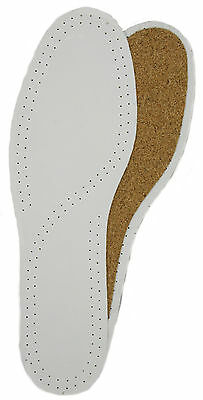 Leather & Cork Deluxe Shoe & Boot Insoles White