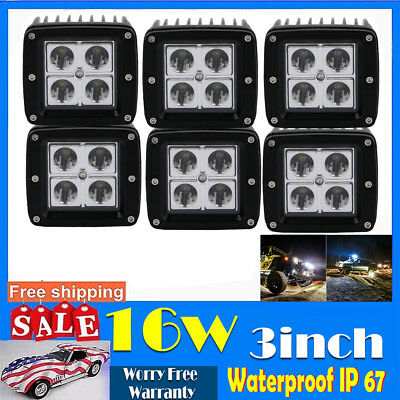 6X 3inch 16W Square Led Work Light Cube Pods Spot Off-road Driving Lamp ATV Jeep