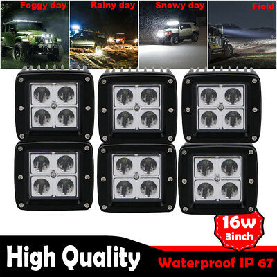 6X 3IN 16W Square Cube Pods Spot LED Work Light Bumper Boat Offroad White 6000K