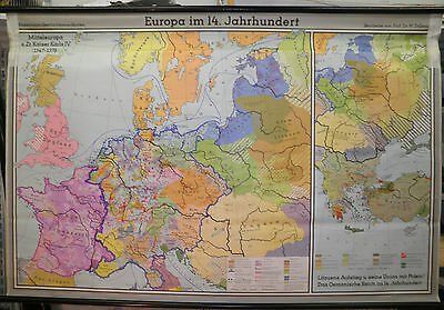 Schulwandkarte Beautiful Old Europakarte 14.Jahrhundert 203x133 Vintage Map 1966