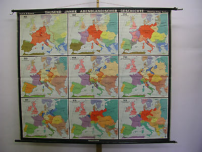 Schulwandkarte Beautiful Old Abendland Europakarte 193x163 Vintage Map~1956