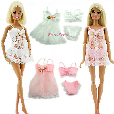 2x 3in1 Sexy Lace Pajamas Bra Underwear Nightdress Clothes For 12 in. Girl Doll