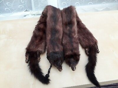 VIntage 1940s 1950s Real Fur stole/scarf in brown original hand made in England