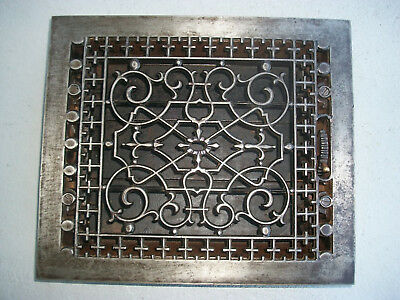 Antique Victorian Cast Iron Ornate Floor Heat Register Vent 10X12 Clean Working