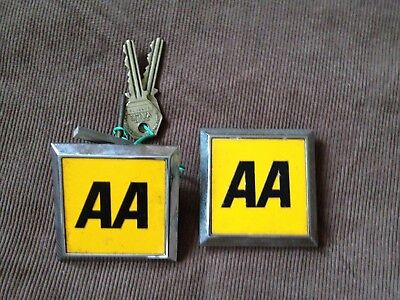 Two Aa Badges And Two Aa Keys. Automotive Club Badges