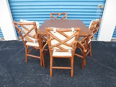 Bamboo Dining Set Fretwork Chinese Chippendale 4 Chairs Hollywood Regency Rattan