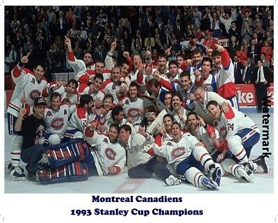 1993 Stanley Cup Champion Montreal Canadiens Team Pic Center Ice 8 X 10 Photo