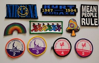 Lot of 10 1990s Embroidered Patches - Nirvana Grateful Dead + More