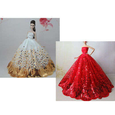 Handmade Wedding Dress Party Gown Outfits For 27-30cm Doll 1/6 Girl Dolls