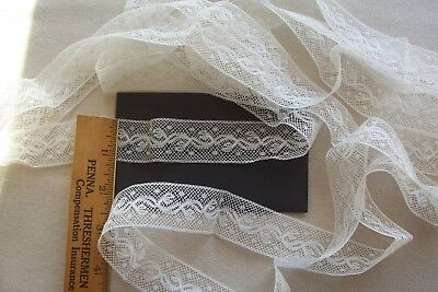 Vtg early White Insertion Lace Trim For Antique Doll Clothes Crafts Sewing