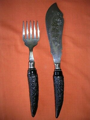 Vintage Silver Fish Servers With Black 'Horn' Handles - 1930s