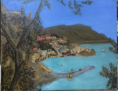 Antique oil painting Bay of Naples signed