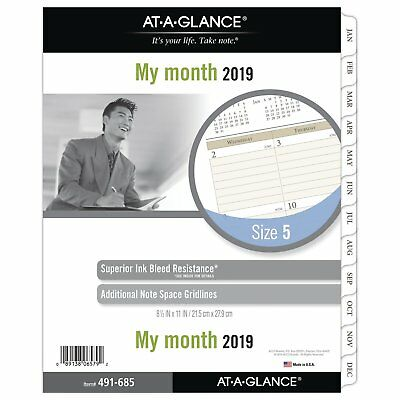 "AT-A-GLANCE 2019 Monthly Planner Refill, Day Runner, 8-1/2"" x 11"", Folio Size 5"