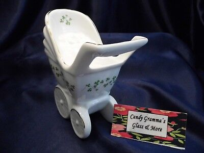 ROYAL TARA GALWAY IRELAND Fine Bone China Baby Buggy Pram Shamrocks