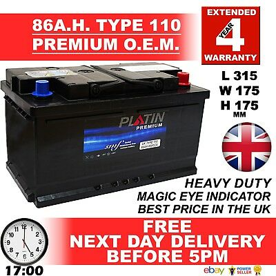 E.U. New Genuine OEM Heavy Duty Car Battery -Type 110 86AH 4 YEAR GUARANTEE BMW