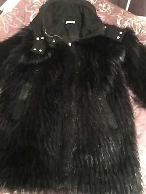 Girls Chloe Blue/black Faux Fur Coat Age 10