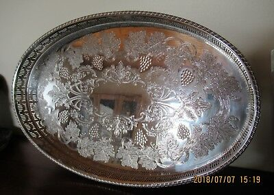 """Viners Sheffield Silver Plate on Copper Gallery Tray 15"""" x10"""" vgc"""
