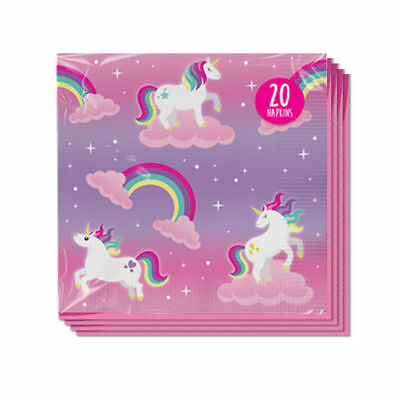20 Pk Pink Unicorn Paper Napkins Birthday Party Tableware Serviettes Decorations