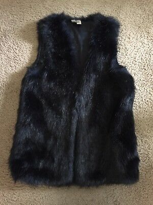Forever 21 Women's Faux Fur Vest Knit Sleeveless NAVY BLUE Size Small