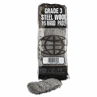 GMT Industrial-Quality Steel Wool Hand Pad #3 Medium 16/Pack 192/Carton