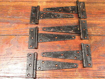 "Lot Of 6 Vintage Barn Door Gate Shed T Strap Hinges 7 1/4"" X 3 1/2"""
